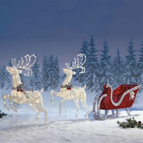 outdoor reindeer decorations outdoor decoration reindeer twinkling sleigh