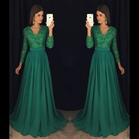 Emerald Green Long Sleeve Lace Prom Dress Pearl Beading