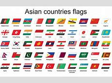 Set of Asian countries flags icons Vector Colourbox
