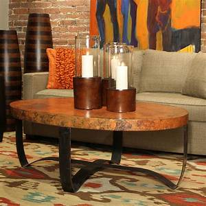 Oval strap cocktail table in fire finish with hammered for Oval copper coffee table