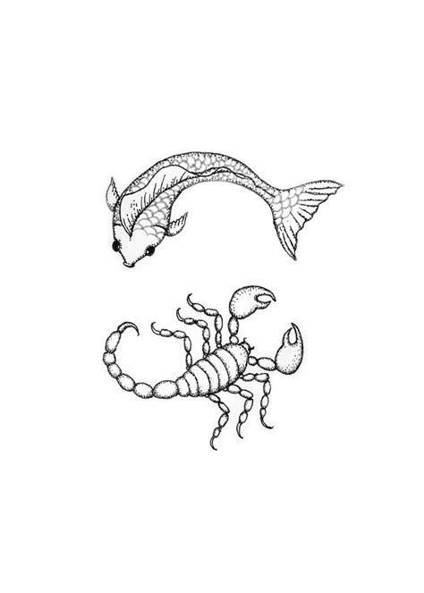 pisces scorpio yin  tatoo design drawn   tatoo