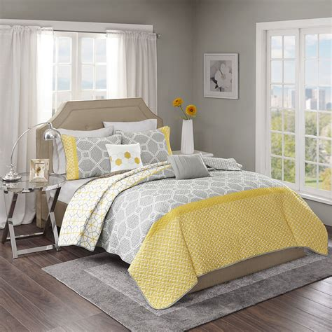 Yellow Quilted Coverlet by Beautiful Modern Chic Grey Yellow Geometric Chevron Stripe