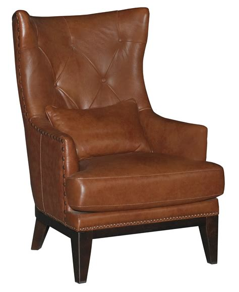 Chestnut Brown Leathermatch Accent Chair & Ottoman