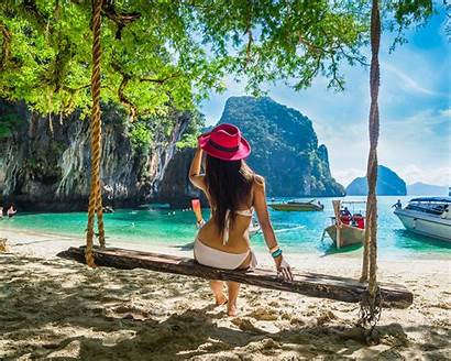 Bikini Beach Woman Thailand Island Sitting Desktop