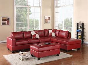 G309 sectional sofa in red bonded leather by glory w ottoman for Red leather sectional sofa with ottoman