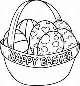 Easter Basket Coloring Pages Happy sketch template