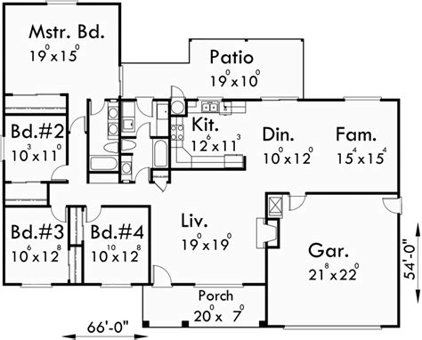 4 bedroom ranch floor plans one story house plans ranch house plans 4 bedroom house plans