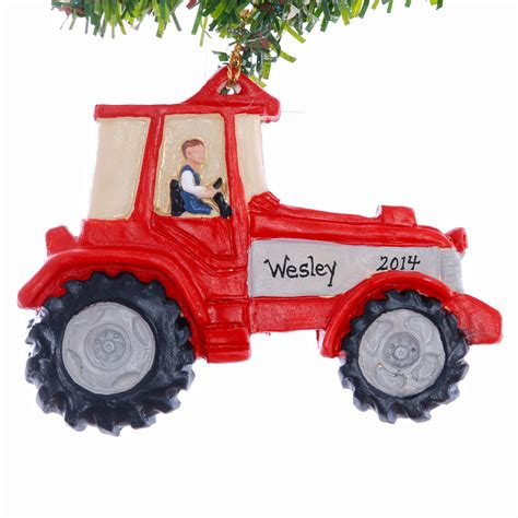 personalized tractor christmas ornament red and grey tractor