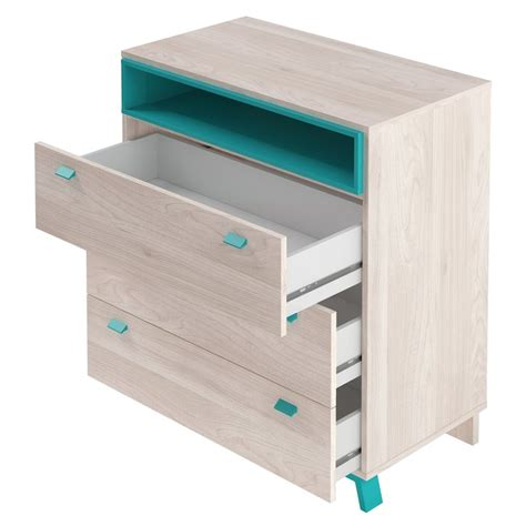 Commode Turquoise by Commode 3 Tiroirs 1 Niche Vancouver Bleu Turquoise