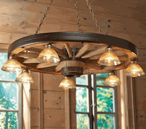 large wagon wheel chandelier  downlights