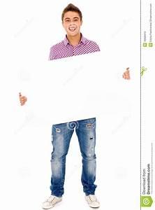 Man Holding Blank Poster Stock Photo - Image: 16608410