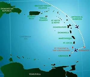 Map Of The Caribbean Showing The Location Of Palm Island Grenadines