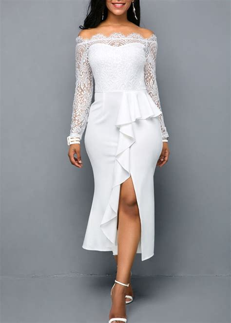 lace panel   shoulder white sheath dress rotita