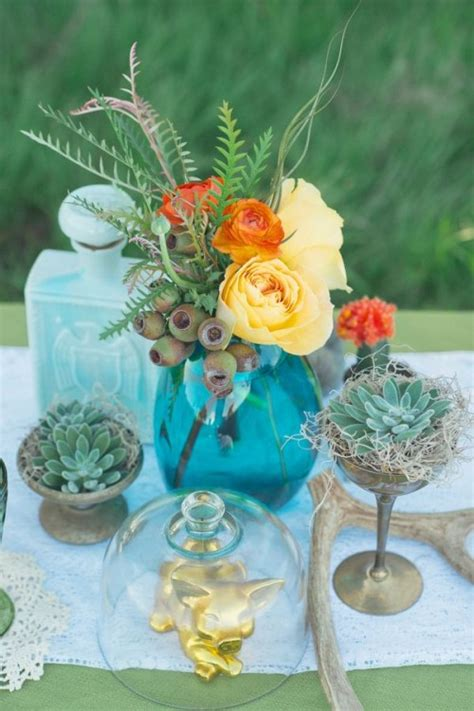 bold  eye catching boho chic wedding centerpieces