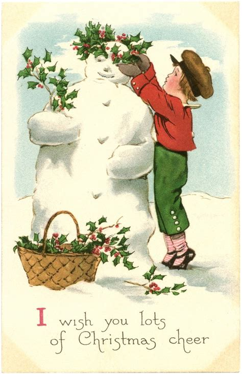 vintage snowman image  graphics fairy