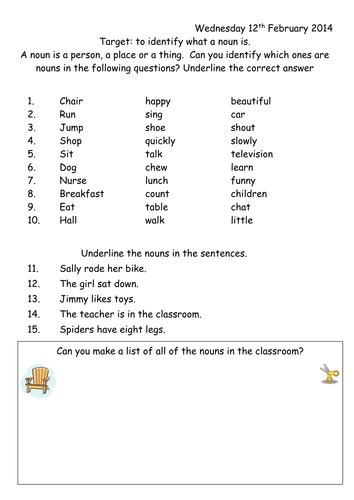 noun worksheet year 1 by joop09 teaching resources