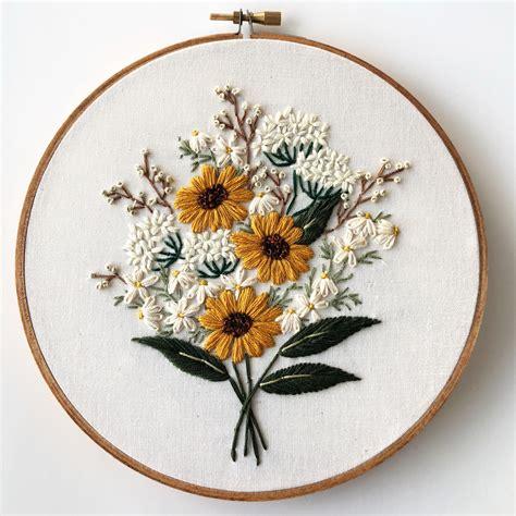 wildflower bouquet  hand embroidery  art