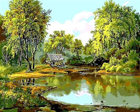 green spring landscape oil painting pond willow picutre