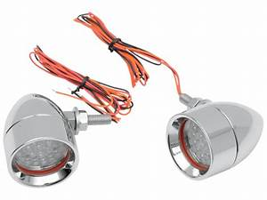 Custom Dynamics Chrome Mini Bullet Red Led Turn Signal Kit