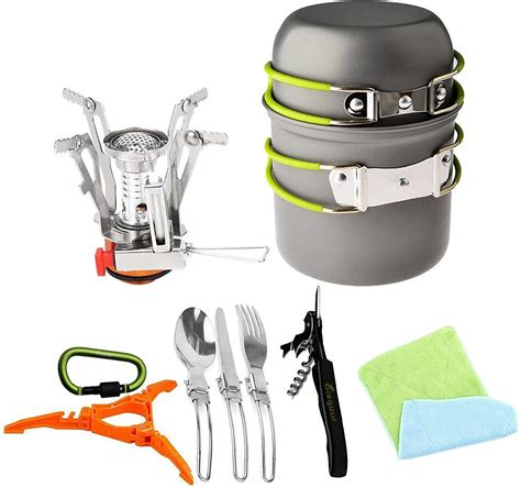 stove cookware camping pcs camp 12pcs tripod canister stand