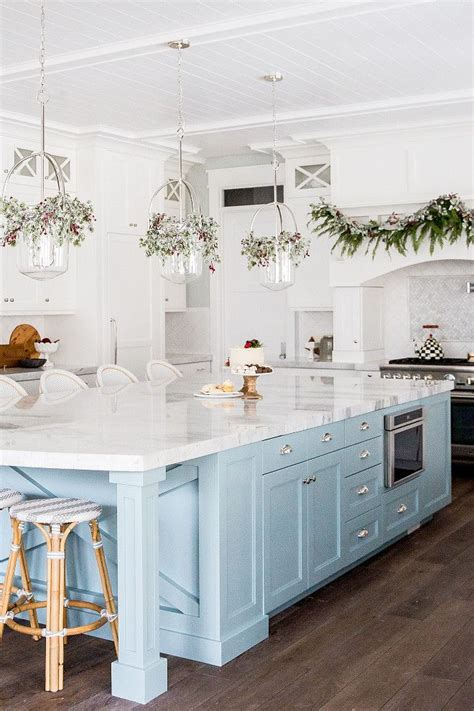 Kitchen With White Cabinets And Light Blue Island I Would