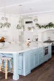 White Kitchen Island Cabinets with Light Blue