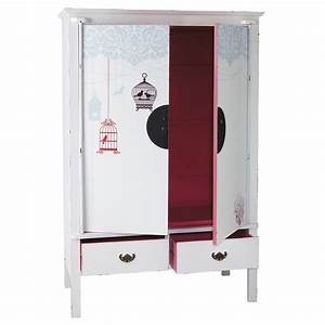 Dressing 120 Cm : dressing en bois blanc et rose l 120 cm jade maisons du monde ~ Teatrodelosmanantiales.com Idées de Décoration