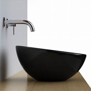 Vasque a poser noire ronde bol 42 cm ceramique pure for Salle de bain design avec vasque a encastrer ronde