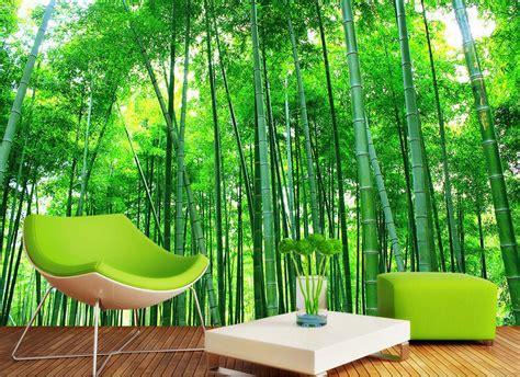 wallpaper dinding ruang tamu motif hutan bambu nirwana
