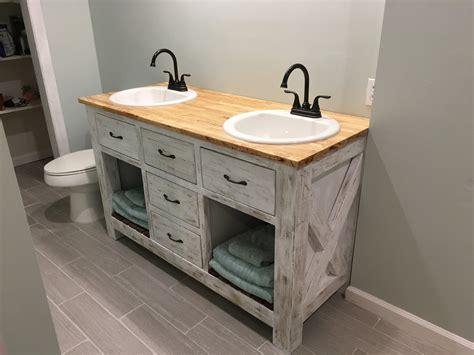 Rustic Bathroom Vanity Plans by White Rustic Bathroom Vanity Diy Projects