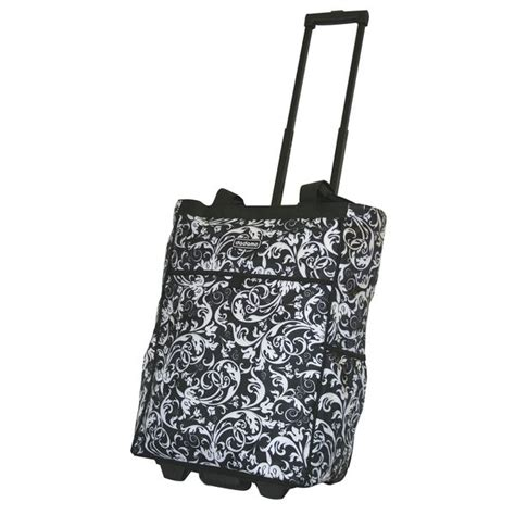 shop dadamo   black floral rolling shopper tote  shipping  orders