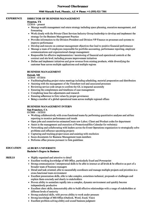Business Management Resume Exles by Business Management Resume Sles Velvet