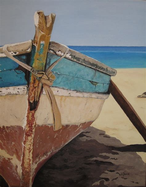Boat On Beach Drawing by Boat On The Beach By Anna Marie Penix Beautiful Painting