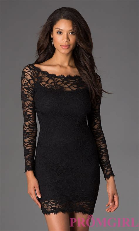 short black lace dress long sleeve dress by jump