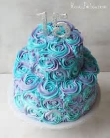 purple wedding cakes teal lavender swirled buttercream roses 15th birthday cake bakes