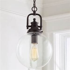 Clear glass globe industrial pendant shades of light