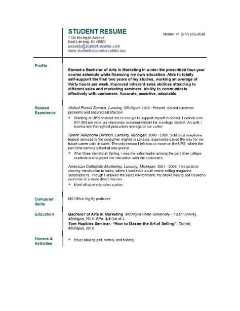 resume template for current college student free sle resume template cover like