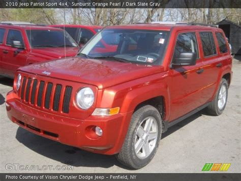 orange jeep patriot sunburst orange pearl 2010 jeep patriot sport 4x4 dark