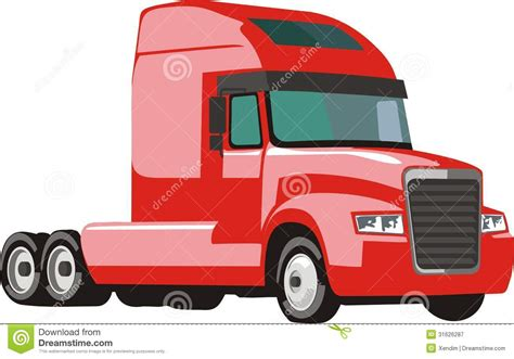 red semi trailer truck royalty  stock photography