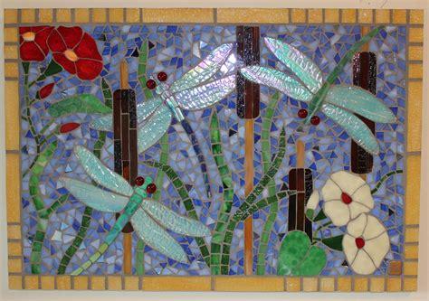 glass mosaic iridescent dragonfly panel  art