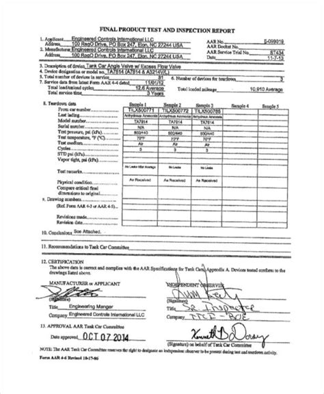 inspection report examples samples  word