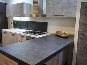 CUCINA CON PENISOLA MODERNA LINEARE OFFERTA CONVENIENZA IN LEGNO E CRASH BAMBU ETNICA Cucine a