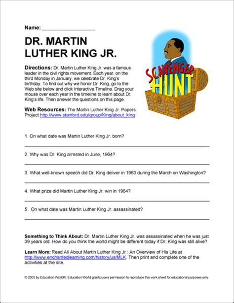 martin luther king activities worksheets education world