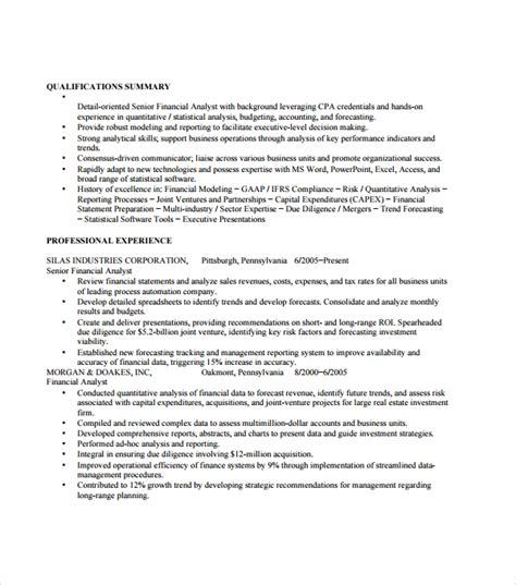 Financial Analyst Resume Template Free by Sle Resume Template 53 In Psd Pdf Word