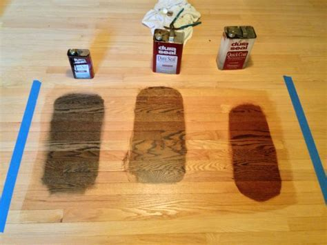 Choosing a floor stain. Antique Brown, Jacobean, Red
