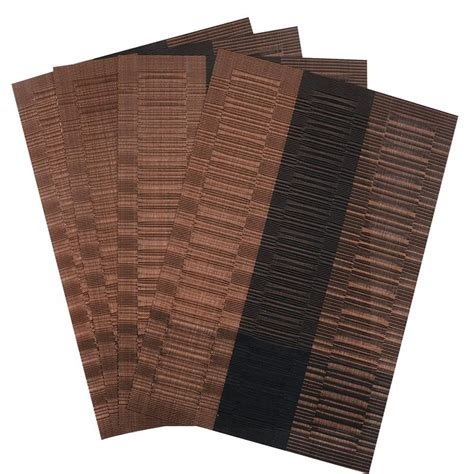 Dining Table Place Mats - set of 4 pvc bamboo plastic placemats for dining table