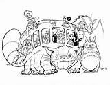 Ghibli Studio Deviantart Coloring Bus Drawing Pages Cat Printable Miyazaki Inks Aicn Catbus Contest sketch template