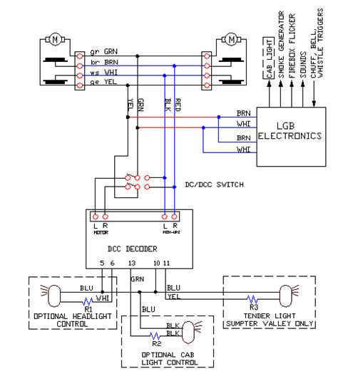 wiring for dcc decoder install into lgb logging mallets