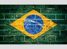 Collection of South America flag on old brick wall texture