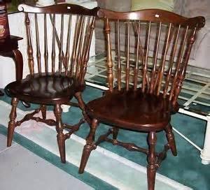 pair vintage ethan allen spindle back solid wood
